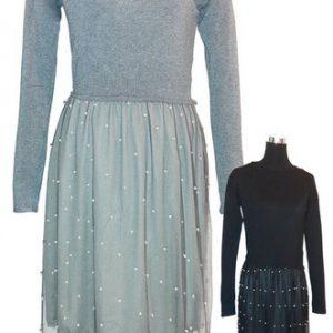 Rochie tricot cu perle